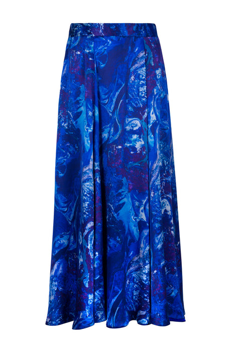 REVERSIBLE Emma Silk Skirt - Ocean Water/Cobalt