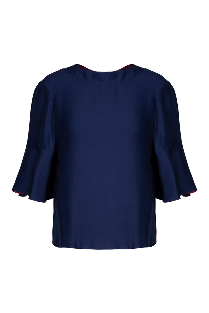 REVERSIBLE Rosie Silk Satin Top - Fire Ocean/Navy