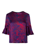 Load image into Gallery viewer, REVERSIBLE Rosie Silk Satin Top - Fire Ocean