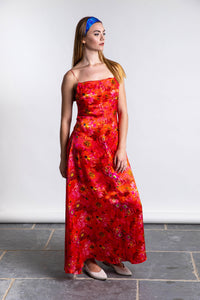 Ellie Silk Satin Dress - Coral Reef