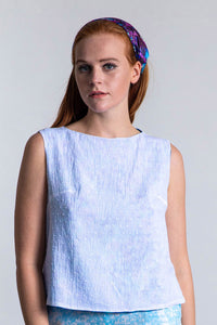 REVERSIBLE Olivia Top - Forget Me Not/White
