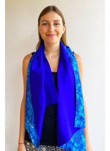 REVERSIBLE Blue Silk Scarf