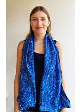 Load image into Gallery viewer, Sapphire Hydrangea Sea Silk Scarf