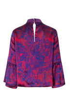 Load image into Gallery viewer, REVERSIBLE Tatiana Silk Satin Top - Fire Ocean/Navy
