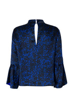 Load image into Gallery viewer, REVERSIBLE Tatiana Silk Satin Top - Floral Camo/Cobalt
