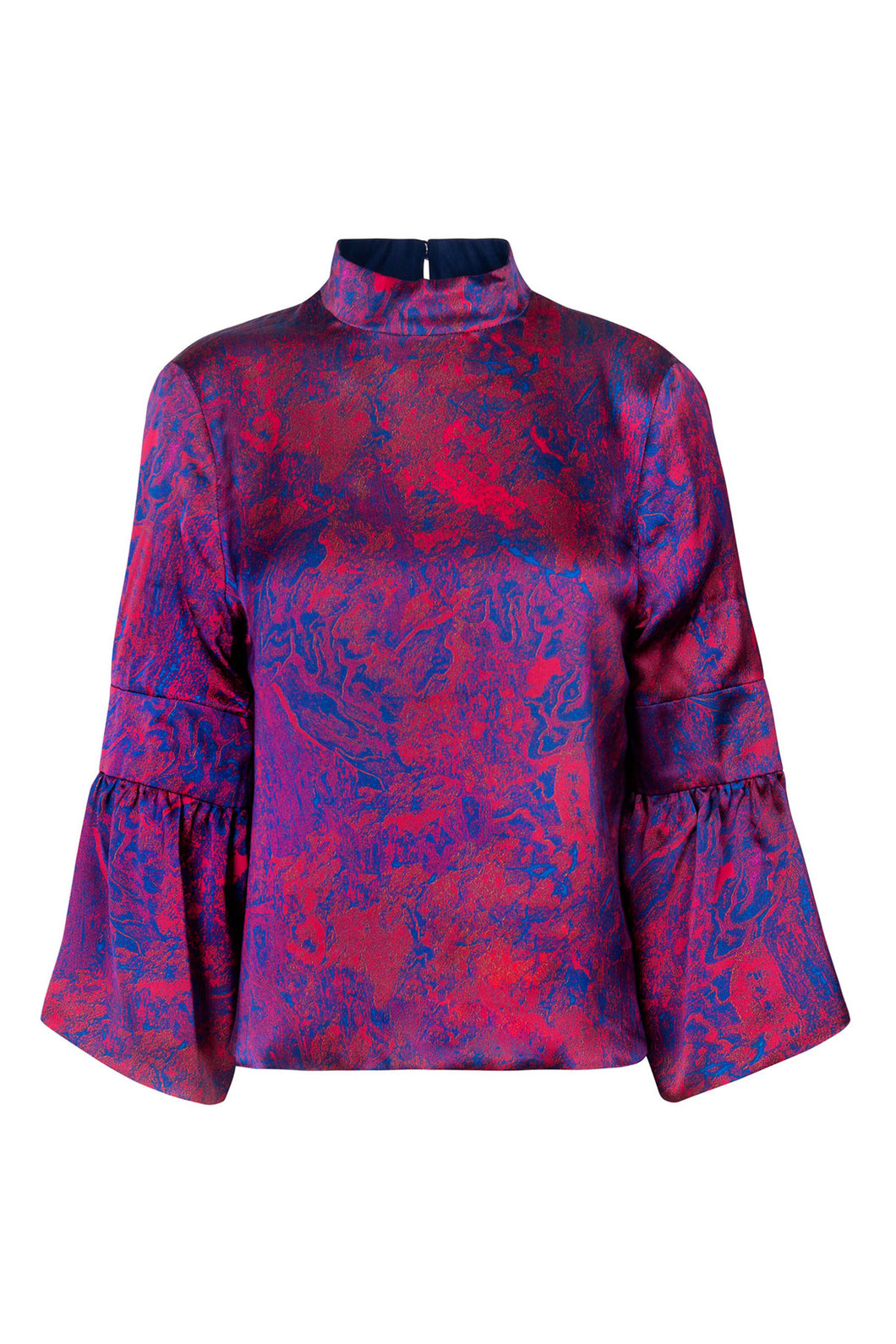 REVERSIBLE Tatiana Silk Satin Top - Fire Ocean/Navy