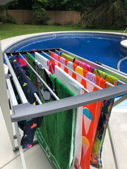 towels outside on drying rack
