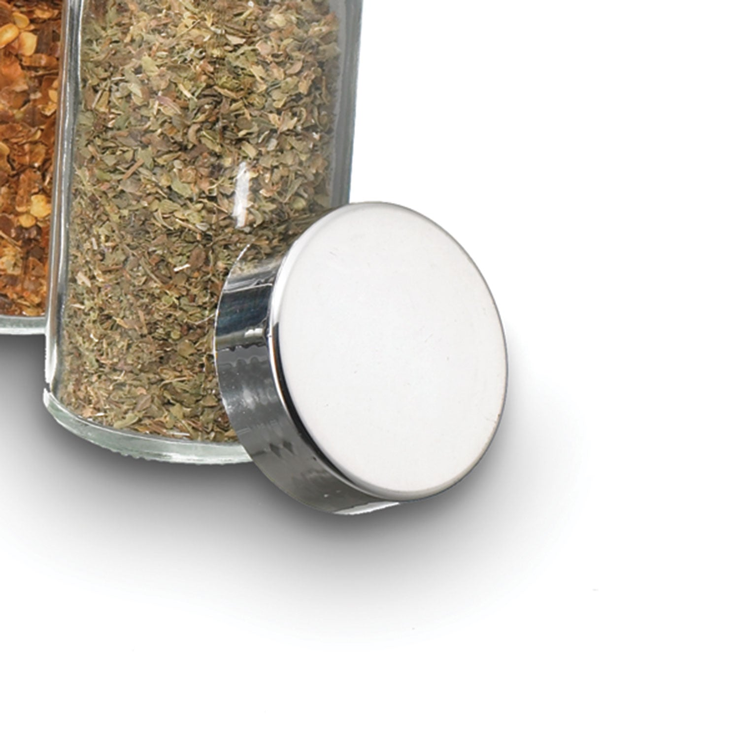 Compact Spice Rack Chrome Lid