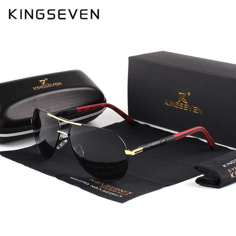 KINGSEVEN Men Vintage Aluminum Polarized Sunglasses Classic Brand Sun glasses - steelpine