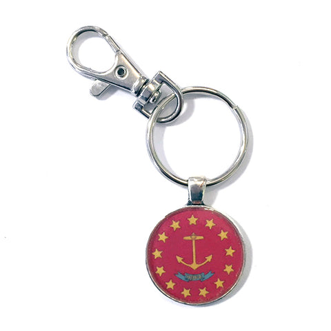 RI Flag Image RED Keychain