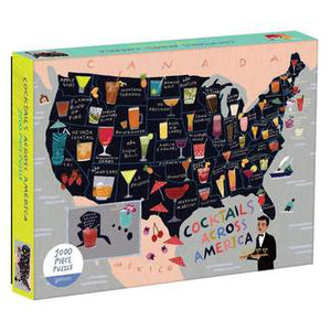 1000 piece puzzle - Cocktails Map of USA