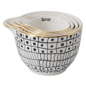 Measuring Cups - B & W & Gold