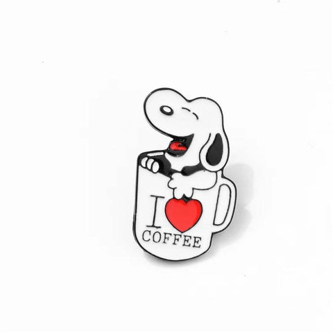 Snoopy I Love Coffee Pin