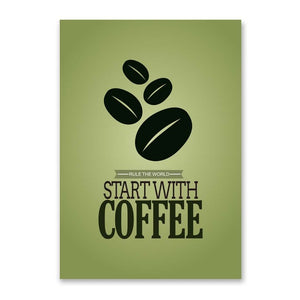 Start With Coffee Vintage Poster