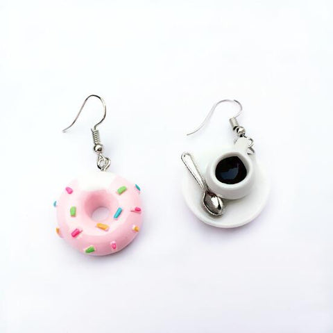 Doughnut Coffee Earrings