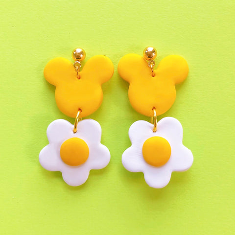 Mouse In Bloom Clay Earrings