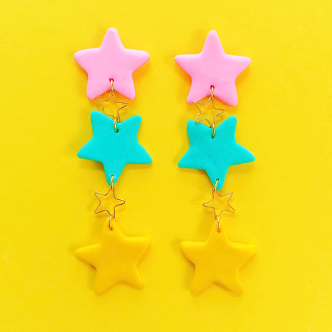 Star Power Clay Earrings