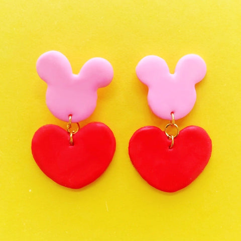 Mouse In Love Clay Earrings