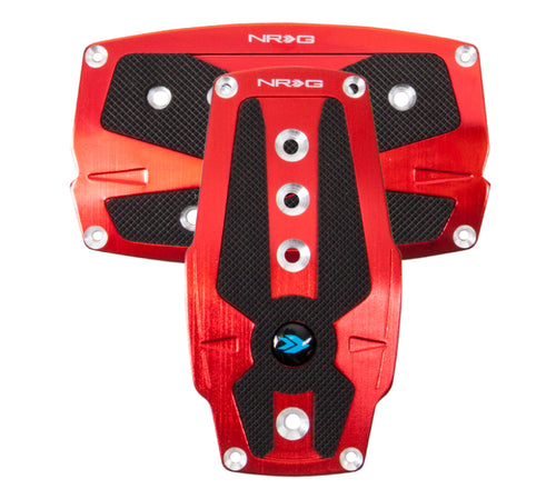 NRG Brushed Aluminum Sport Pedal A/T - Red w/Black Rubber Inserts