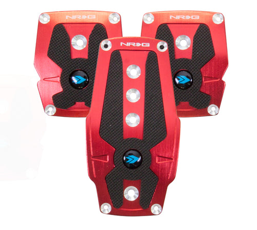 NRG Brushed Aluminum Sport Pedal M/T - Red w/Black Rubber Inserts