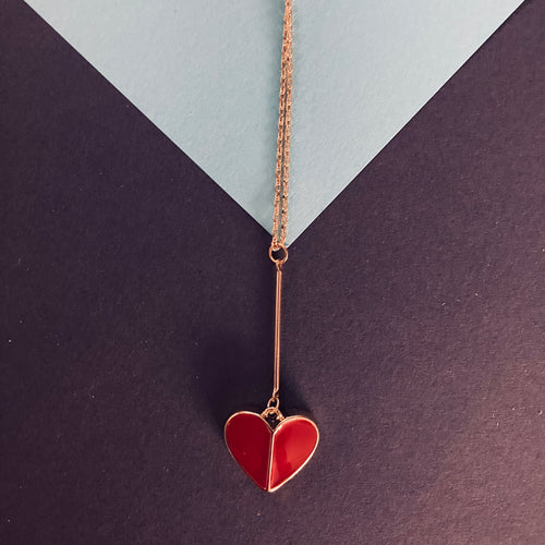 ADDIE Red Enamel Heart Pendant Necklace