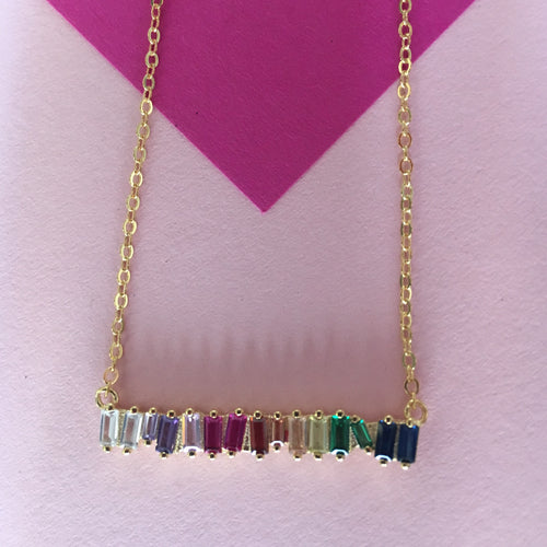 STELLA Rainbow Baguette Bar Pendant Necklace