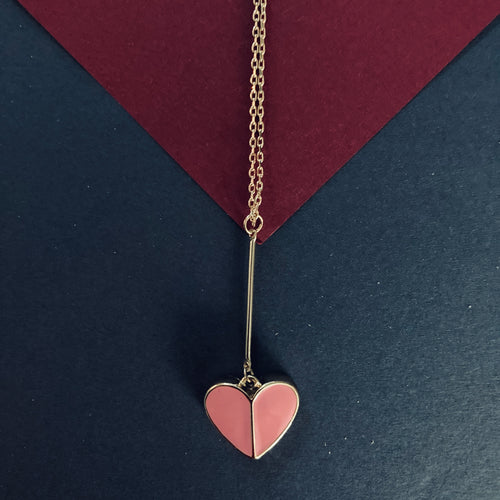BECKY Pink Enamel Heart Pendant Necklace