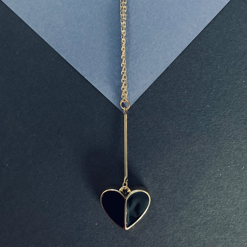CECILIA Black Enamel Heart Pendant Necklace