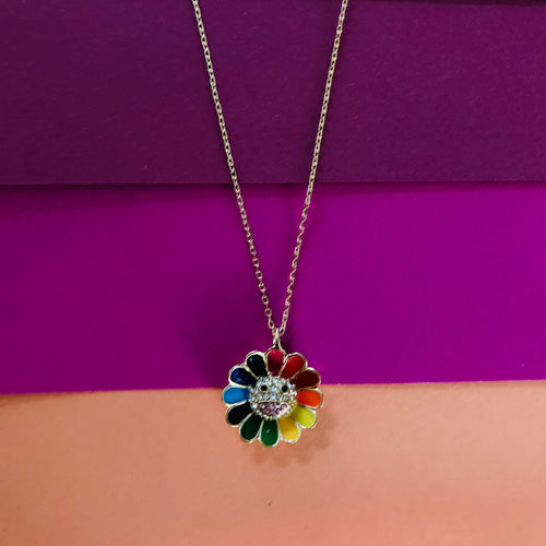 FLORA Multi Coloured Smilie Face Enamel Pendant Necklace