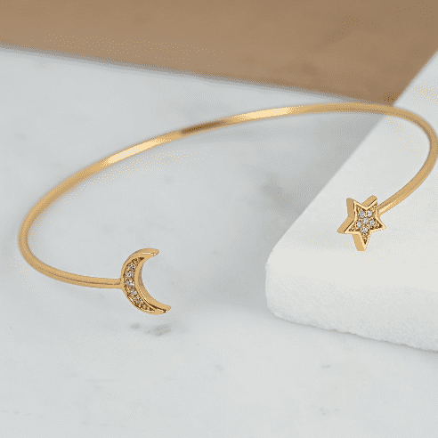 ALICE Star and Moon Gold Skinny Stacking Bangle