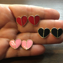 Load image into Gallery viewer, ADELINE Red Enamel Heart Stud Earrings