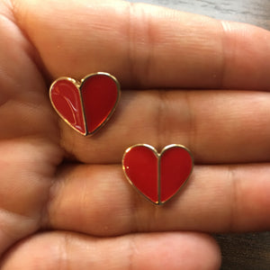 ADELINE Red Enamel Heart Stud Earrings