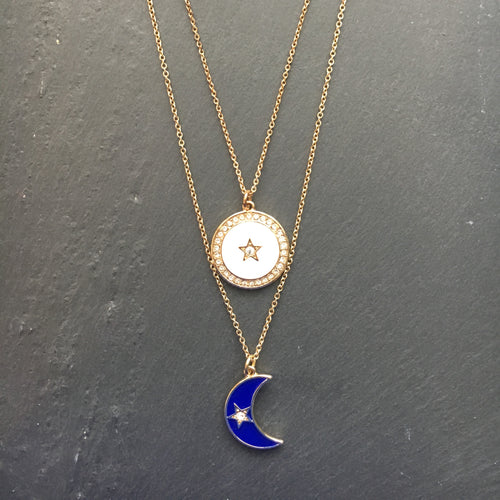 SERENA Moon and Star Pave Double Pendant Necklace