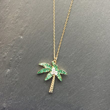 Load image into Gallery viewer, SALLY Palm Tree Pave Pendant Necklace
