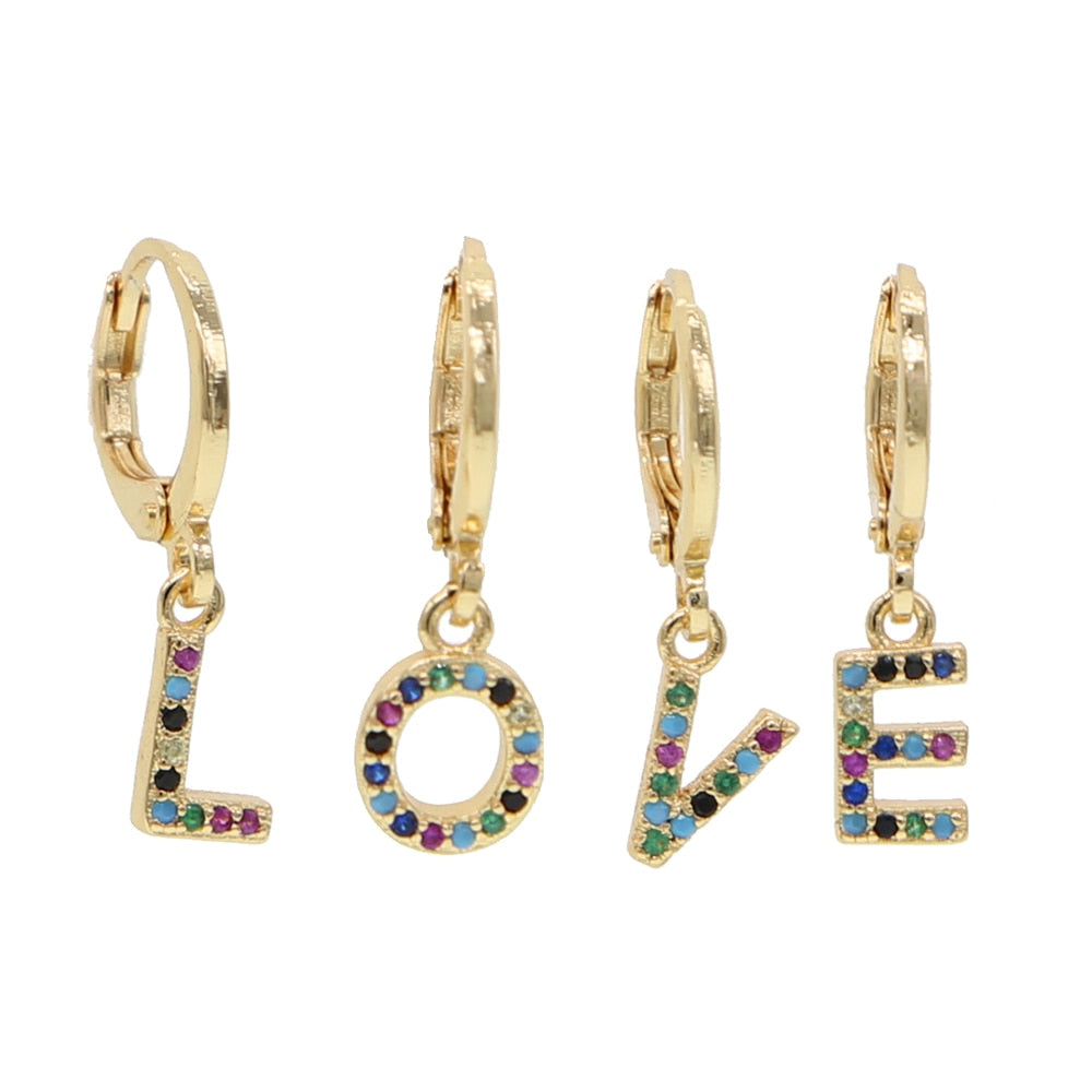 P-ALPHABET RAINBOW EARRINGS