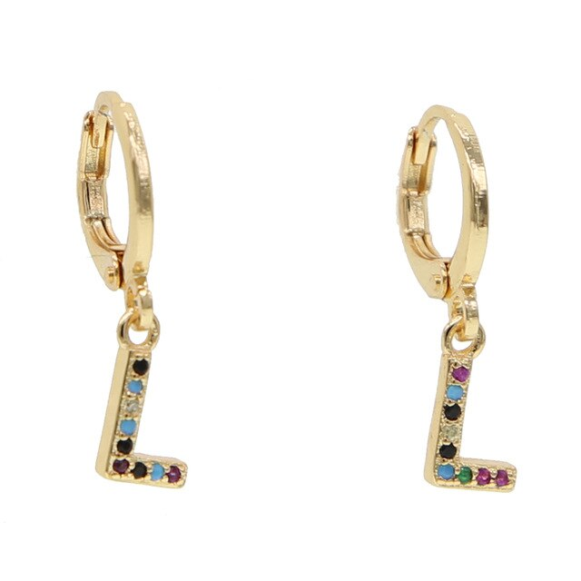 L-ALPHABET RAINBOW EARRINGS