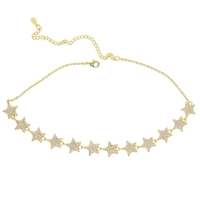 GOLD ZIRCON STAR CHOKER