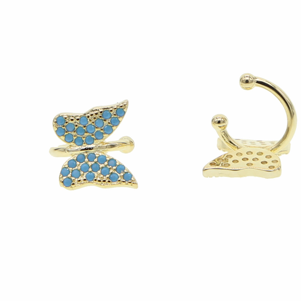 BLUE-BUTTERFLY CLIP EARRINGS