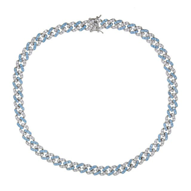 BLUE WHITE CUBAN CHOKER