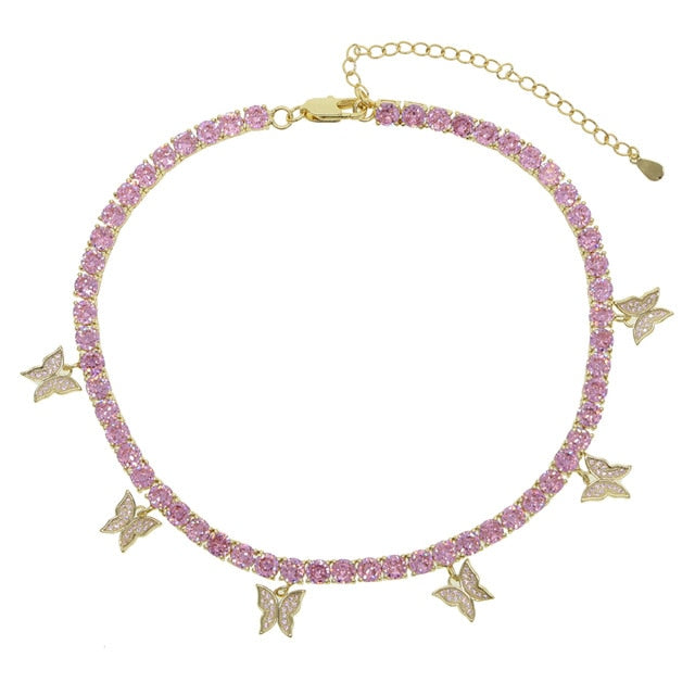 PINK BUTTERFLY GOLD NECKLACE