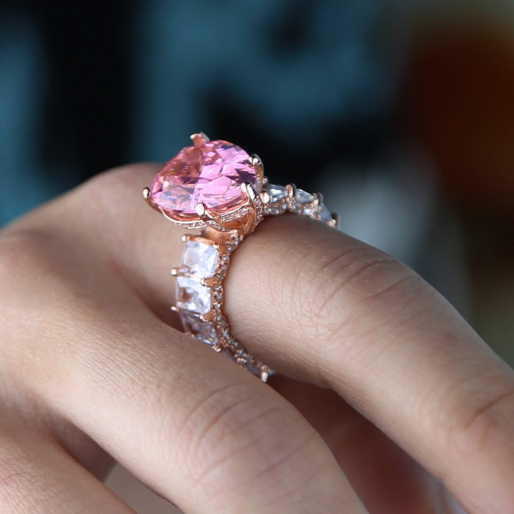 PINK BIG ZIRCON RING