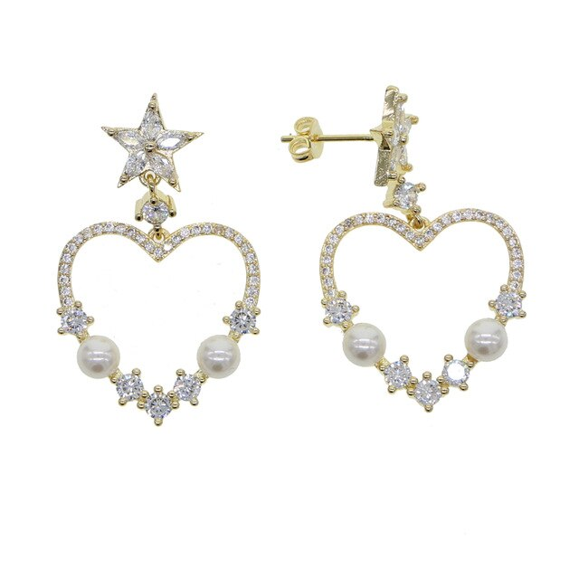 GOLD HEART CHARM EARRINGS