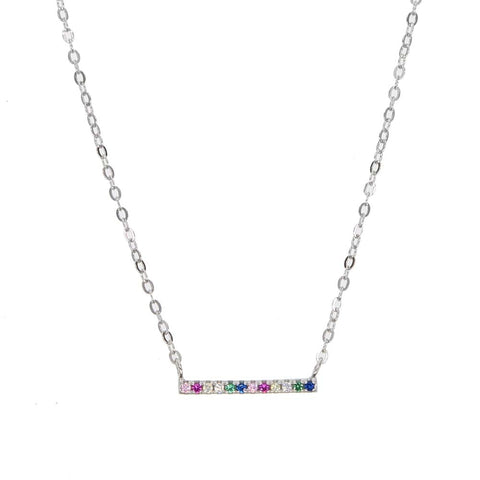 SILVER SIMPLE RAINBOW NECKLACE