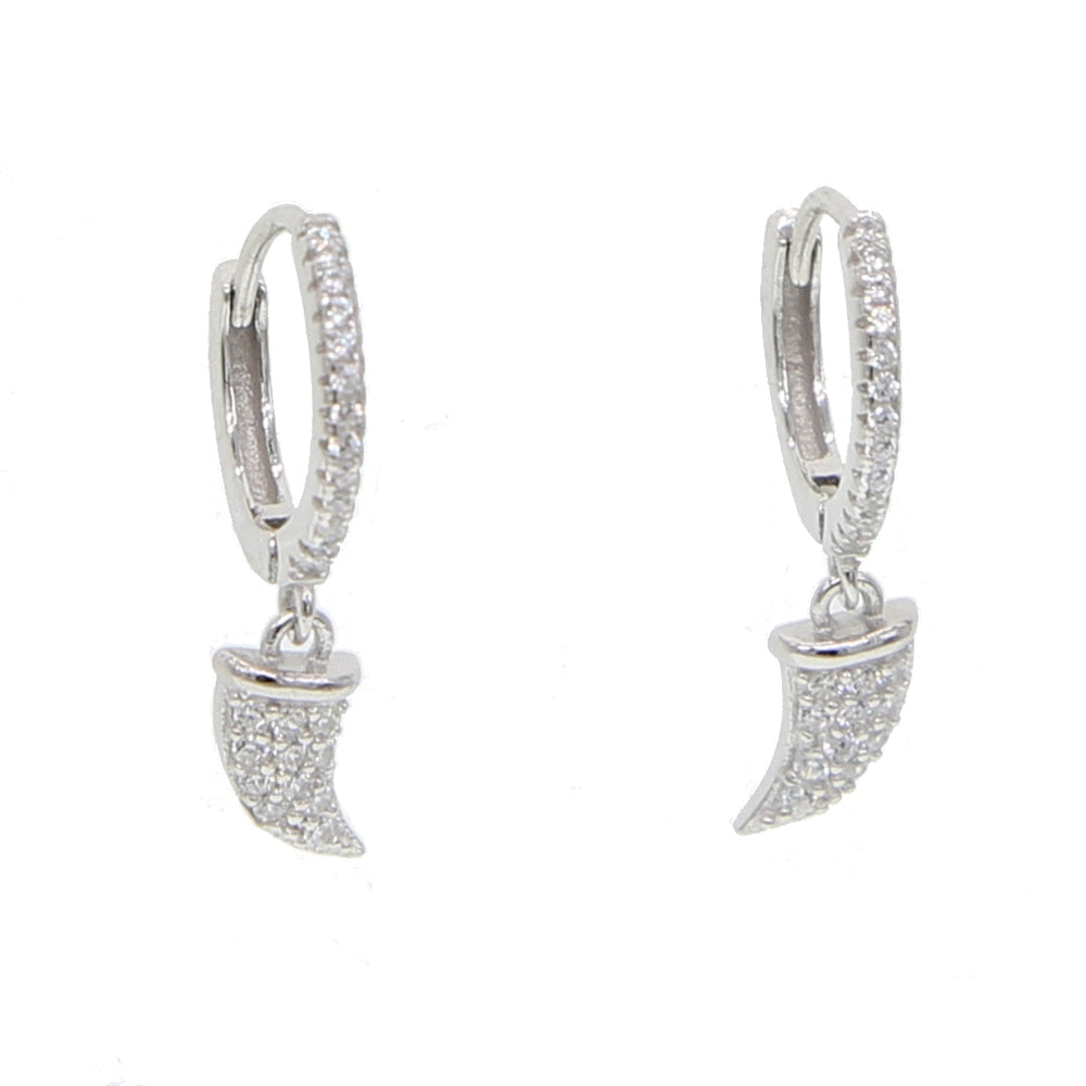 HORN CHARM SILVER EARRINGS