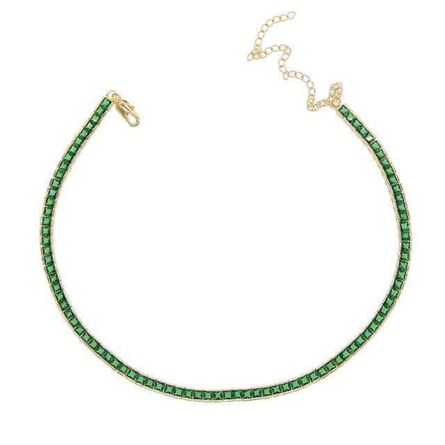 GREEN TENNIS NECKLACE