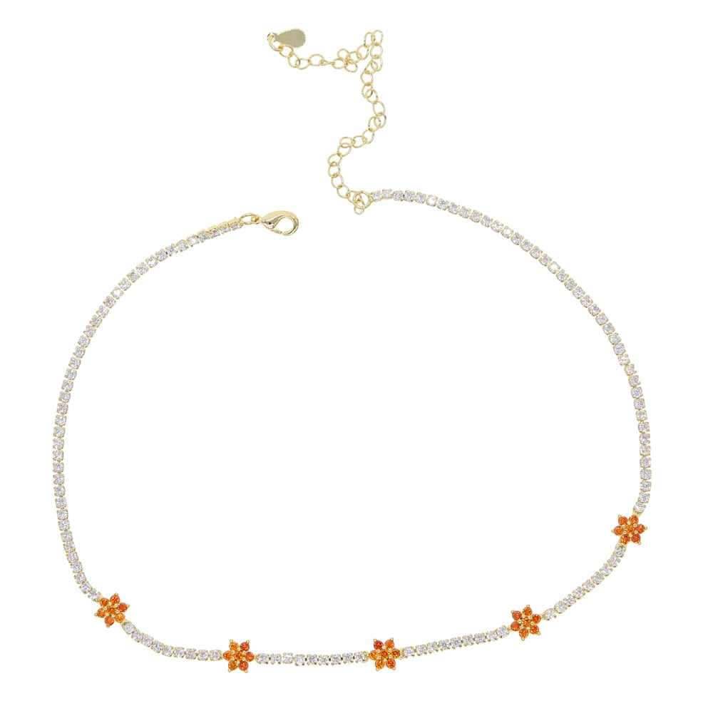 ORANGE FLOWERS CHOKER