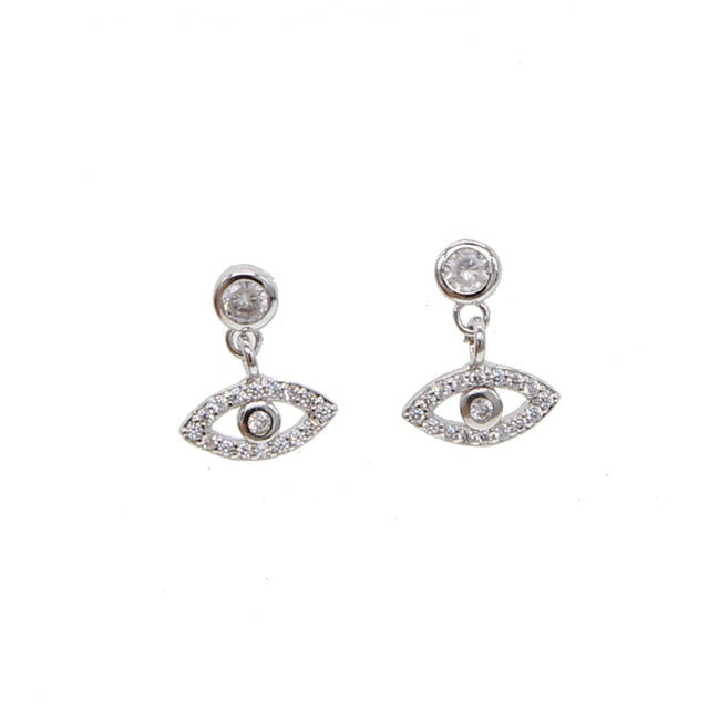 SILVER EVIL EYE EARRINGS