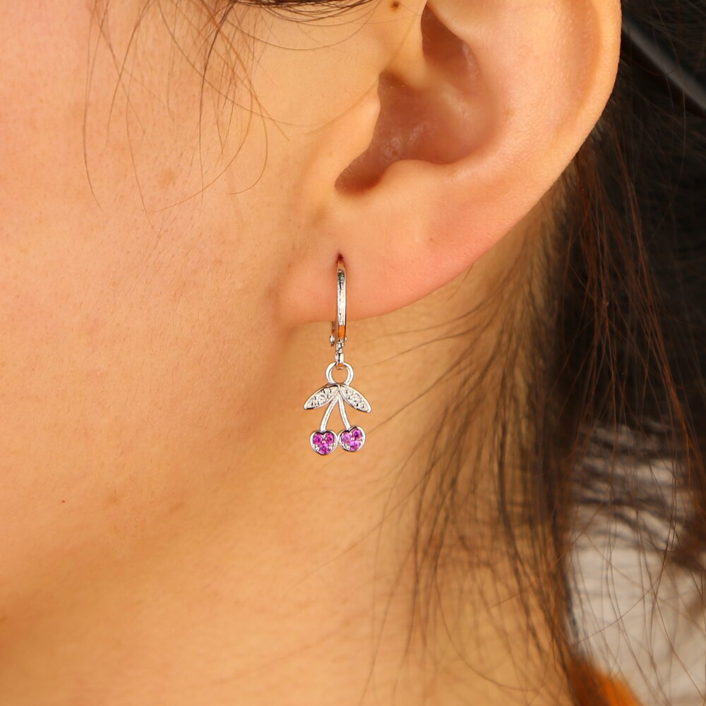 SILVER MINI CHERRY EARRINGS