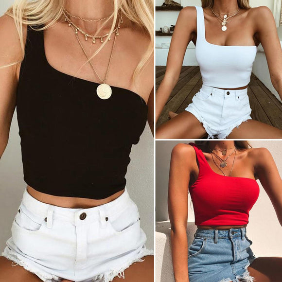 Single Shoulder Crop Tops