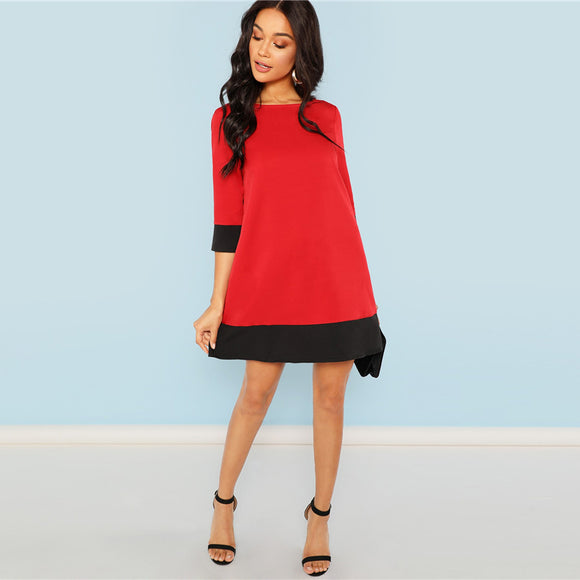 Red Contrast Dress